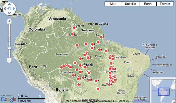 Dams in the Amazon.