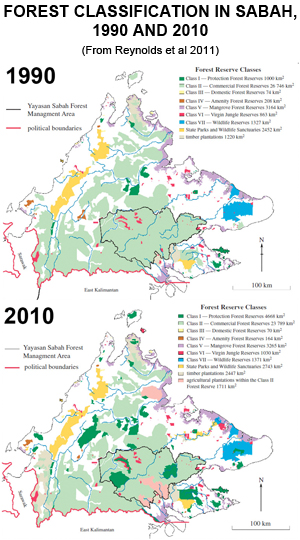 Forest classification map of Sabah, Malaysia, 1990 and 2010.