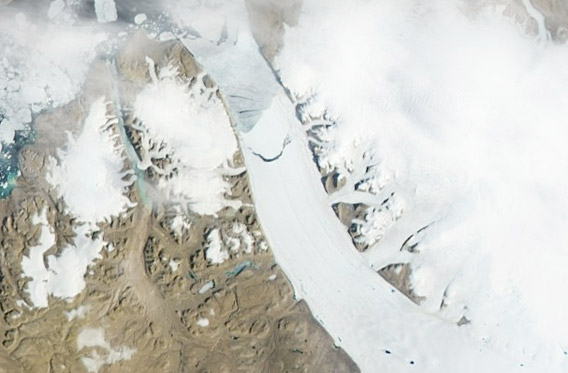 NASA image showing the calving on the Petermann Glacier in northwestern Greenland.