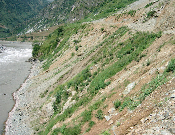 Landslides along the Salween River due to recent road construction near Daxingdi, Yunnan Province, China