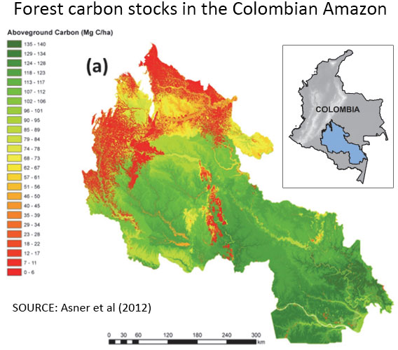 Colombia forest carbon map. Courtesy of Asner et al 2012.