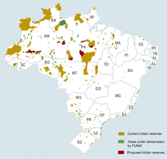 Map of indigenous lands in Brazil as of April 2008.