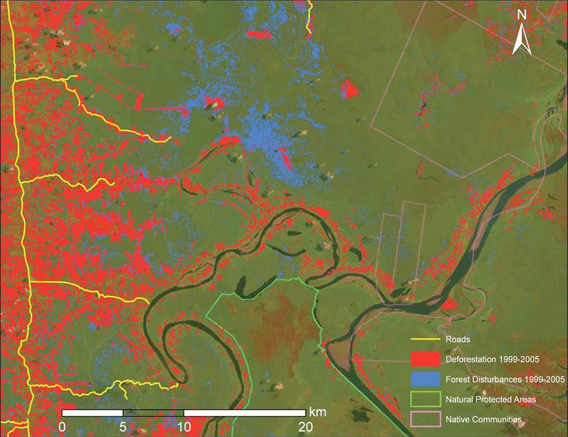 CLASlite map generated from satellite imagery in the Peruvian Amazon