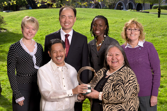 Right of left: Evgenia Chirikova, Edwin Gariguez, Ma Jun, Ikal Angelei, Caroline Cannon, and Sofia Gatica. Photo courtesy of Goldman Environmental Prize.
