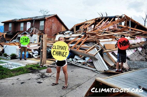 High school students in Texas connect the dots between climate change and tornados that appear earlier and earlier ever year. Scientists are just beginning to explore whether or not there is a connection between climate change and tornadoes. Photo courtesy of 350.org.