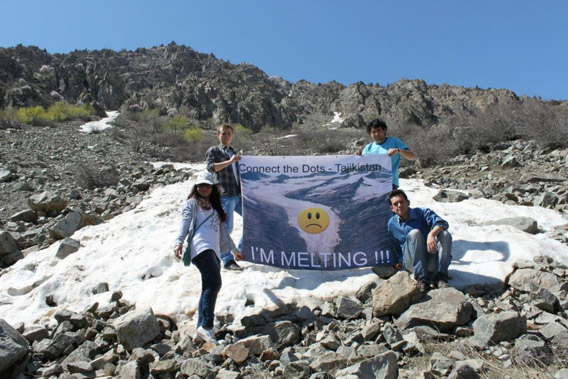 Tajikistan's water supplies are dwindling as glaciers melt and are not renewed by snowfall as in the past. Photo courtesy of 350.org.