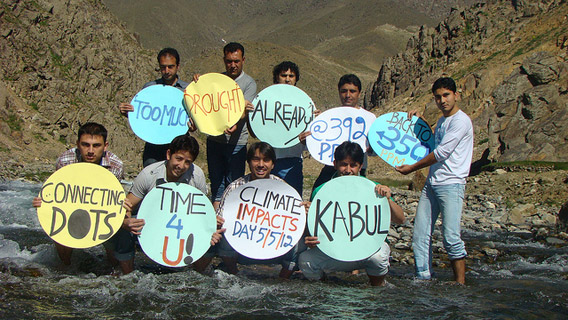Paghman Valley, Afghanistan. A group of young people gathered where the Kabul river flows down from the Paghman Valley in an effort to show the how low the water table is. Afghanistan faces considerable drought and water shortage as a result of climate change. Photo courtesy of: 350.org.