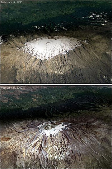 Above - Kilimanjaro in 1993, below the peak in 2000. The snow/ice of Mount Kilimanjaro persisted for some 12,000 years. The mountain is expected to be snow/ice free in about a decade. Photos by NASA.