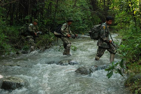 An anti-poaching team on patrol.
