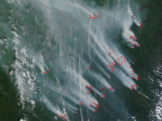 Over 30 fires burning in Eastern Russia yesterday. Photo by: NASA.