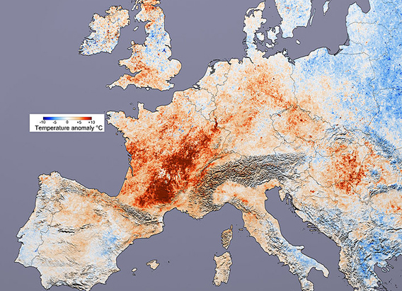 Hitting France especially hard, the Europe 2003 heatwave left tens of thousands of people dead. A new statistical analysis argues that climate change was the cause of this and other extreme summer heat events. Image by: NASA.