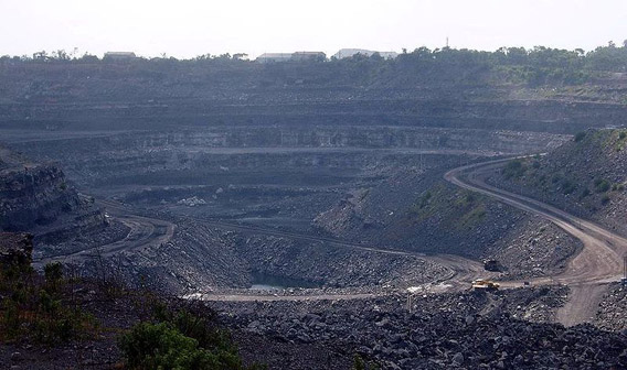 Surface coal mining in Bihar, India. Around 40 percent of India's power is currently provided by coal.