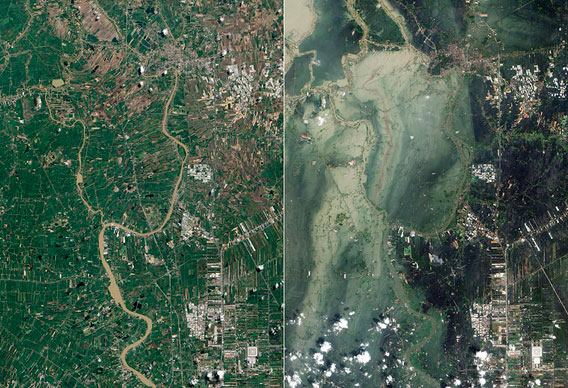 Before and after satellite images of flooding in Ayutthaya Province, Thailand.