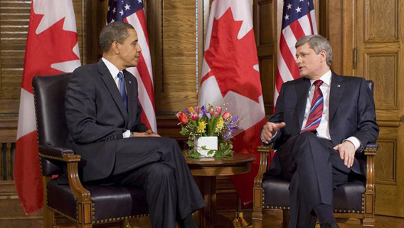 U.S. President Barack Obama (left) meets with Canadian Prime Minister (right) Stephen Harper in 2009. WWF criticizes both nations for watering down negotiations at the Rio+20 Summit. Photo by: Pete Souza.