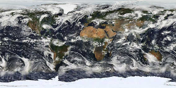 Observations of planet Earth from the Moderate Resolution Imaging Spectroradiometer (MODIS) on July 11, 2005. Photo by: NASA.