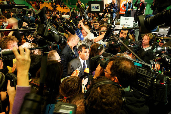 Former president of the Maldives, Mohamed Nasheed speaking to reporters at the Copenhagen Climate Summit in 2009. Photo by: Adam Welz.