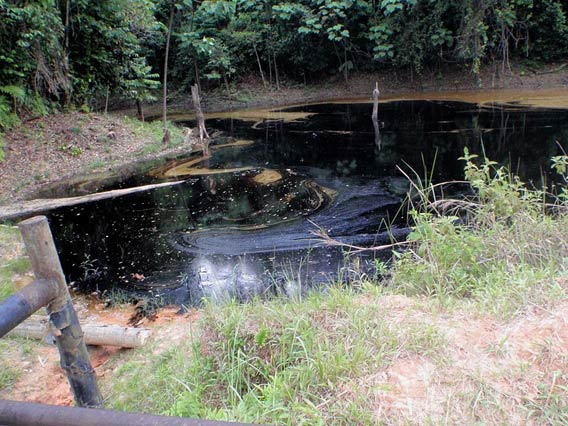 A recent spill in a lake in Oil Block 1-AB from August 27 2010. Photo courtesy of: Amazon Watch