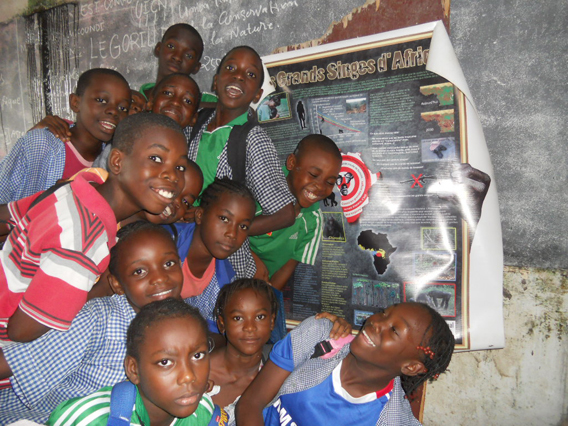 Local students after a presentation on gorillas by ESI. Photo courtesy of ESI.