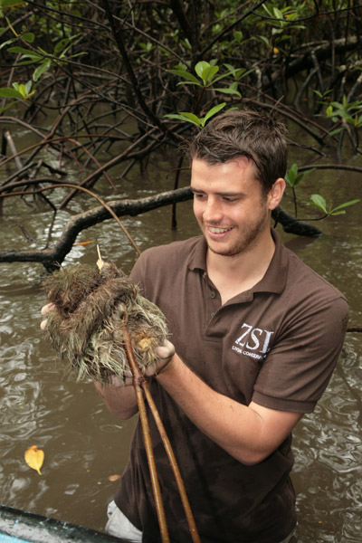 David Curnick with the world's smallest sloth. Photo courtesy of ZSL.