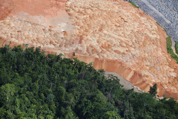 Construction of the Belo Monte Dam project, near Altamira. Photo by © Greenpeace/Daniel Beltra.