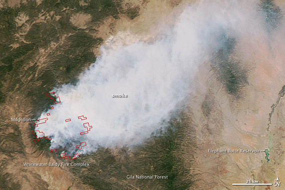 New Mexico's biggest fire ever as seen on May 29th from NASA's Aqua satellite. Photo by: NASA.
