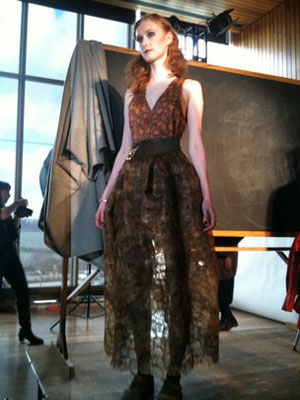 Designer Tara St. James' Malagasy silk skirt shown off at a fashion show in New York. Photo courtesy of Catherine Craig.