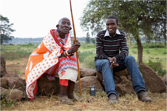 Samuel Nkoe Lesalaon (right) is a young Maasai attending highschool. He assisted the storytelling by conducting interviews with elders including this 80-year-old Maasai woman. Story coming soon. Photo courtesy of Paula Kahumbu.