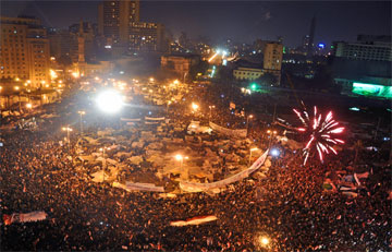 Celebrations in Tahrir Square after Mubarak's resignation. February 11, 2011.