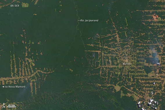 Top image shows deforestation in Brazil's western state of Rondônia in 2000. Bottom image shows deforestation as of 2010. Images courtesy of NASA .