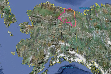 The outline (in pink) of the Arctic National Wildlife in Alaska, bordering Canada as seen by Google Earth. Protection of America's largest park is constantly under attack to allow drilling.