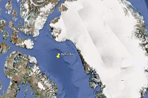 Cairn Energy has been given the go-ahead by Greenland, backed up by the Danish military, to drill for oil in Baffin Bay, shown here on Google Earth.