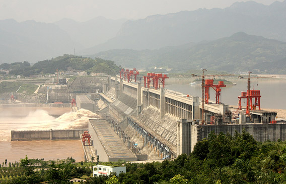 Three Gorges Dam. The hugely controversial dam was finished in 2006 and has further degraded the Yangtze River's ecology. Photo by: Bigstock.