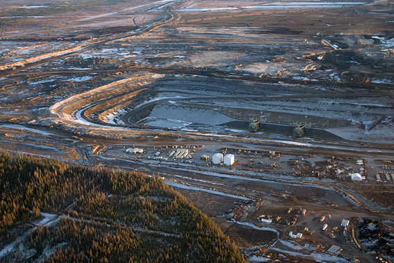 An aerial view of a new oilsands development in northern Alberta.