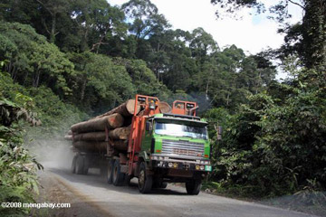 Logging truck carrying timber out of the Malaysian rainforest. Photo by: Rhett A. Butler.