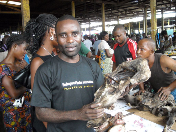 Makoundi in a market with a blue duiker. Photo courtesy of ESI.