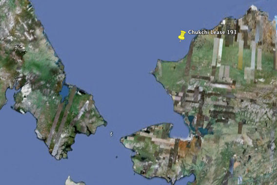Approximate location of Chukchi lease 193 as seen on Google Earth. To the right is Alaska and on the left, Russia.