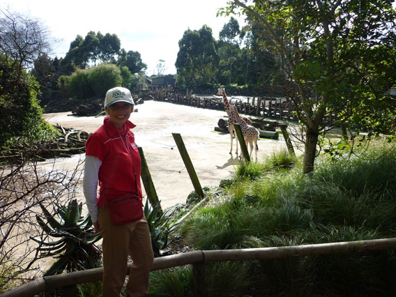 Clare Raybould at the Aukland Zoo where she volunteers. Photo courtesy of Clare Raybould.