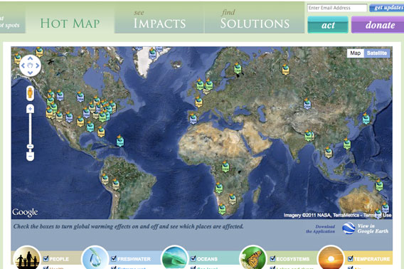 Screen shot of the new Climate Hot Map. Screenshot of Climate Hot Map from the Union of Concerned Scientists (UCS).