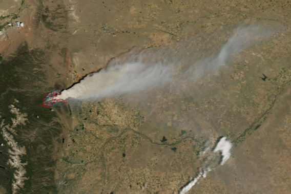 The High Park Fire in Colorado started on June 9th from a lightening strike and quickly expanded. This image is from June 10th, taken by Moderate Resolution Imaging Spectroradiometer (MODIS) on NASA's Aqua satellite. Image courtesy of NASA.