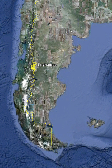 Located in Southern Chile, Coyhaique lies near the border with Argentina. Image courtesy of Google Earth.