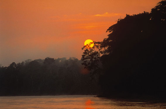 Sunset on the Manu River. Photo by: Frank Hajek.