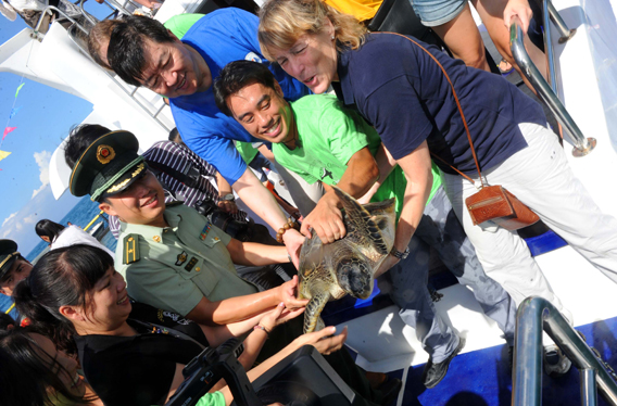 Government officials, Sea Turtles 911 Founding Director Frederick Yeh, and Ocean Park Director Suzanne Gendron, prepare to release rescued sea turtle back into the ocean. Photo by: Sea Turtles 911.