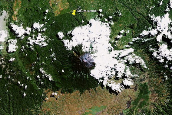 Mount Kerinci, Sumatra's largest volcano, is a part of Kerinci Seblat National Park. Image courtesy of Google Earth.