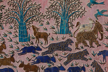 Mosaic of wildlife in Buddhist temple in Laos. Nature has inspired both art and religion around the world.  Photo by: Rhett A. Butler.
