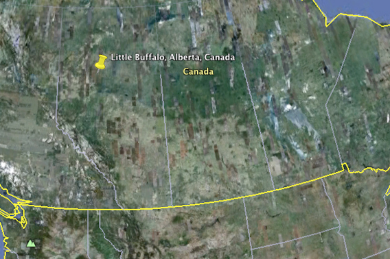 Google Earth view of location of Little Buffalo, Alberta near site of oil spill. Yellow line is the Canadian border with the US.