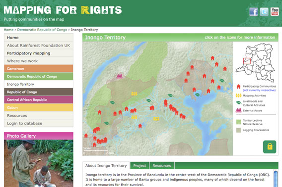 Screenshot of new website of community mapping in central Africa's forests.