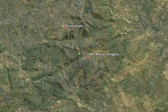 The forests of Mount Moco were once considered the largest montane forests left in Angola, until researchers discovered more forsts in the Namba Mountains. Photo courtesy of Google Earth.