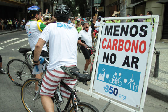 Cyclists in Rio de Janeiro taking action.