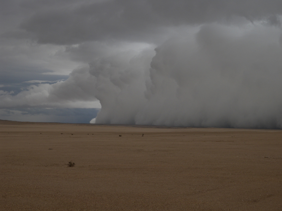 A shelf cloud passes over one of the driest regions on the African continent: the Namib desert. The shelf cloud is associated with a high-precipitation supercell thunderstorm. Photo courtesy of NASA.