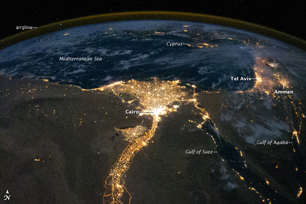 From space: Nile at night